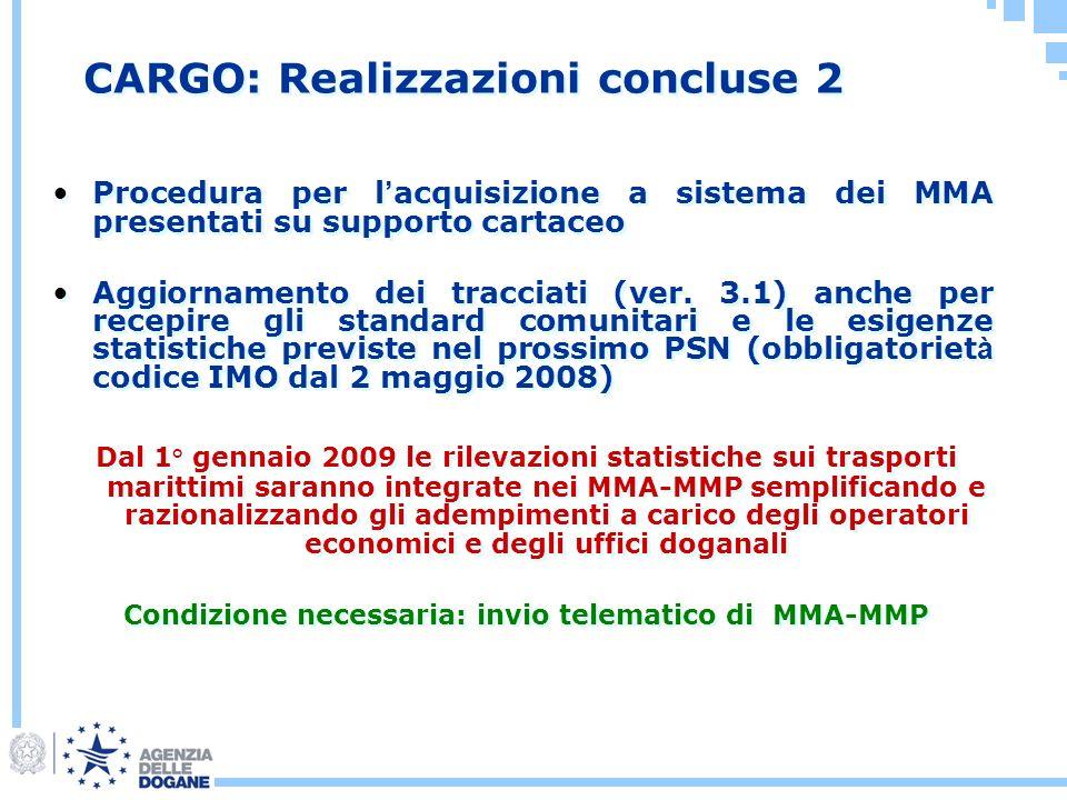Procedura per l acquisizione a sistema dei MMA presentati su supporto cartaceo Aggiornamento dei tracciati (ver. 3.1) anche per recepire gli standard
