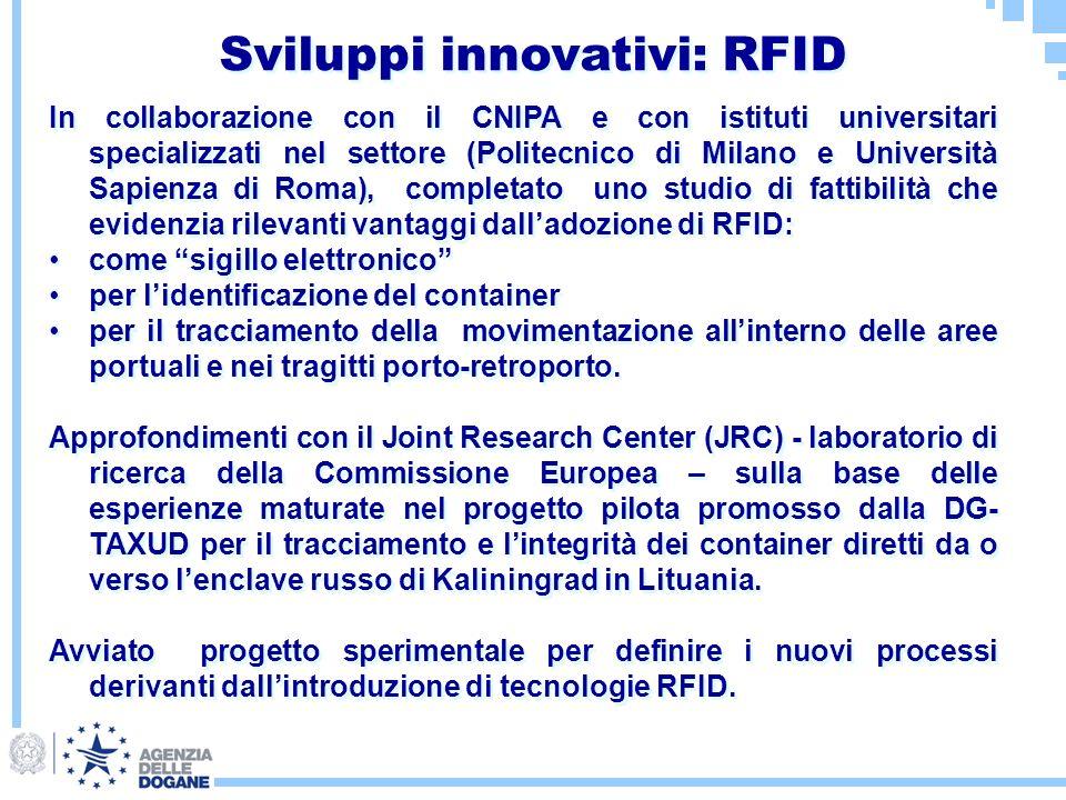 Sviluppi innovativi: RFID In collaborazione con il CNIPA e con istituti universitari specializzati nel settore (Politecnico di Milano e Università Sap