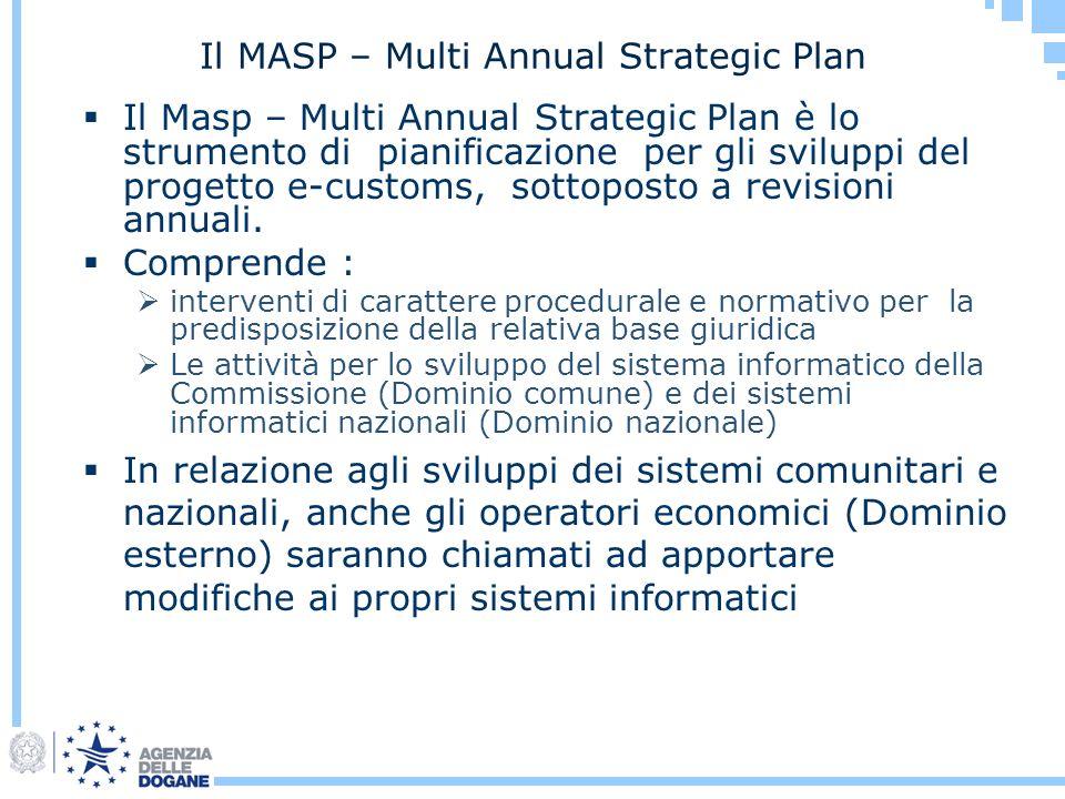 Il MASP – Multi Annual Strategic Plan Il Masp – Multi Annual Strategic Plan è lo strumento di pianificazione per gli sviluppi del progetto e-customs,