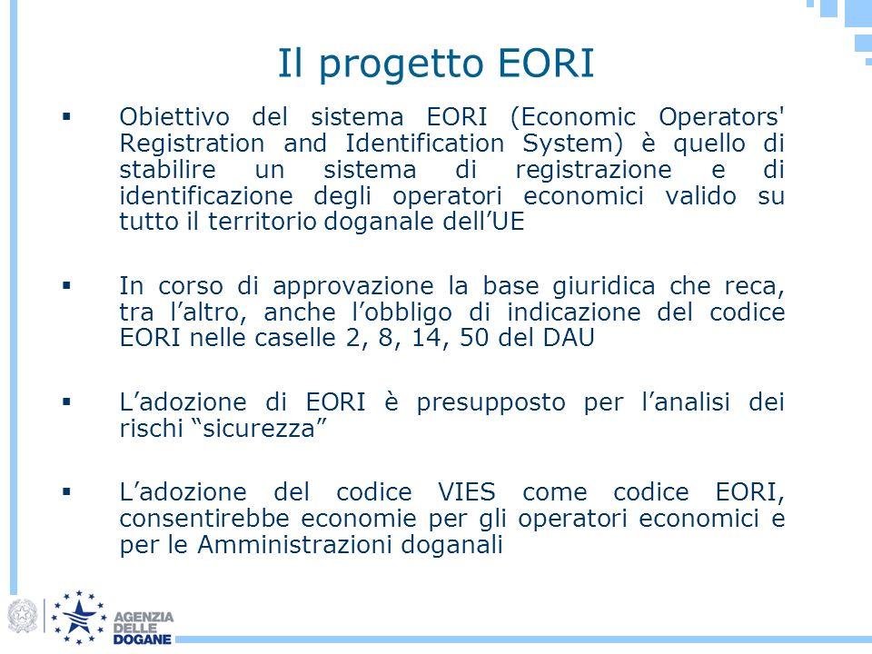 Il progetto EORI Obiettivo del sistema EORI (Economic Operators' Registration and Identification System) è quello di stabilire un sistema di registraz