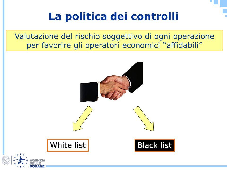 La politica dei controlli Valutazione del rischio soggettivo di ogni operazione per favorire gli operatori economici affidabili White list Black list