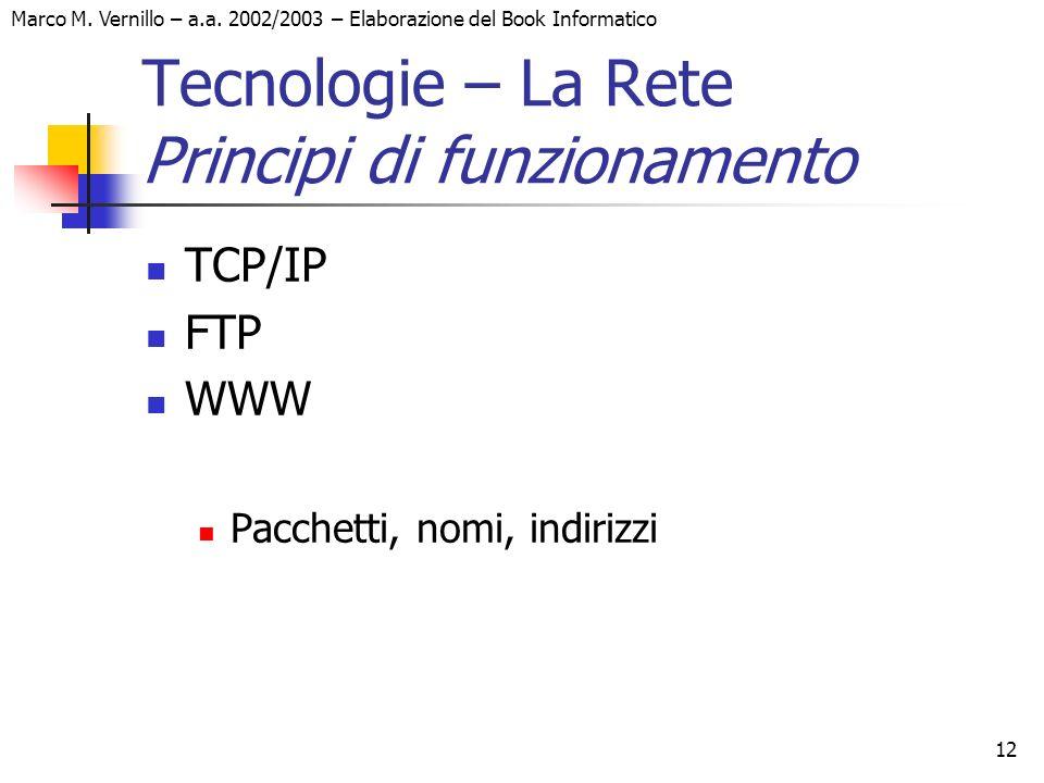 Marco M. Vernillo – a.a. 2002/2003 – Elaborazione del Book Informatico 12 Tecnologie – La Rete Principi di funzionamento TCP/IP FTP WWW Pacchetti, nom