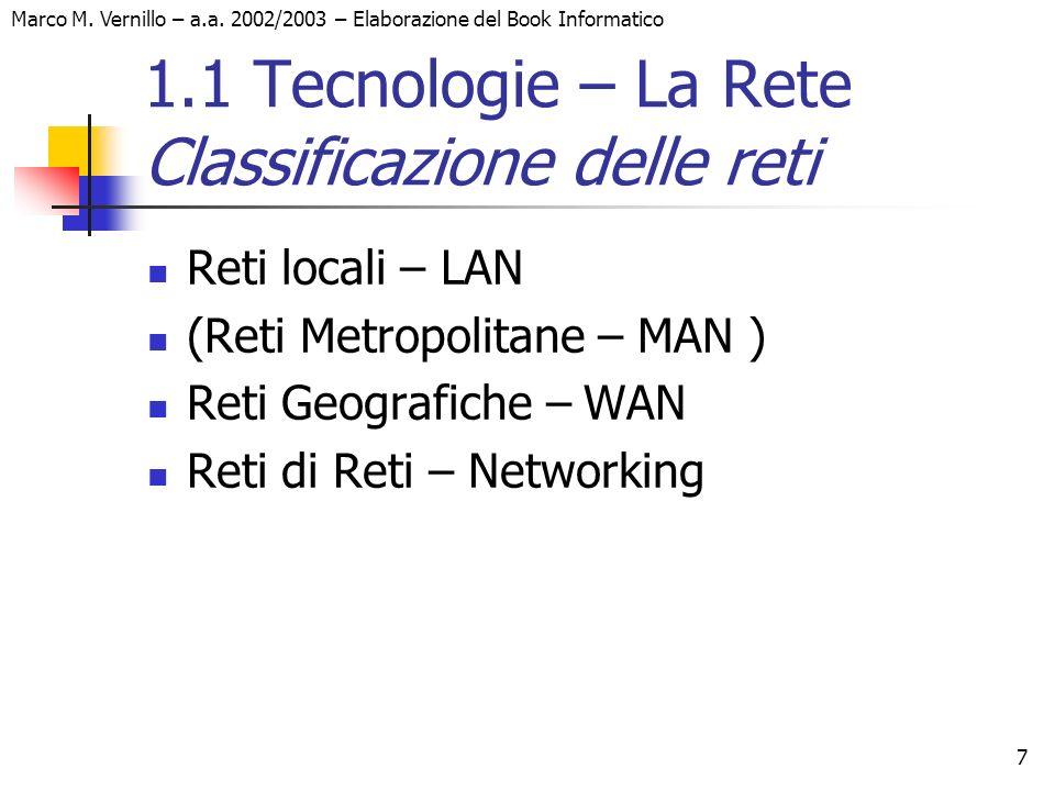 Marco M. Vernillo – a.a. 2002/2003 – Elaborazione del Book Informatico 7 1.1 Tecnologie – La Rete Classificazione delle reti Reti locali – LAN (Reti M