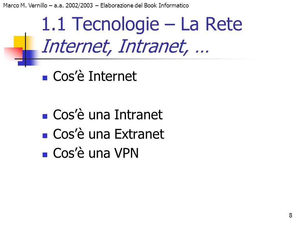 Marco M. Vernillo – a.a. 2002/2003 – Elaborazione del Book Informatico 8 1.1 Tecnologie – La Rete Internet, Intranet, … Cosè Internet Cosè una Intrane