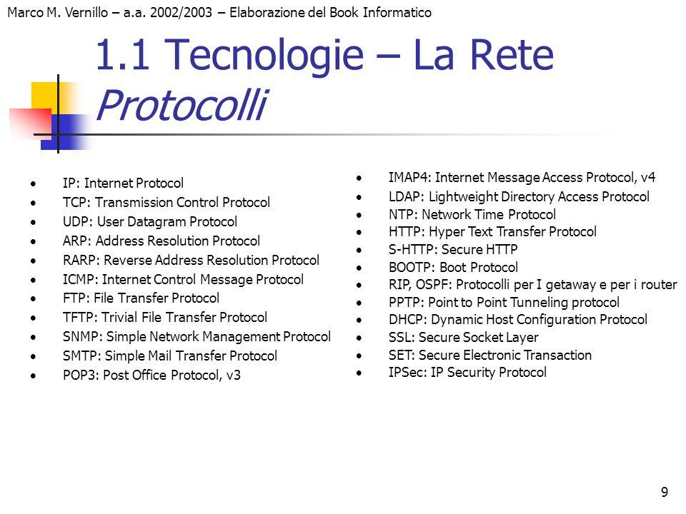 Marco M. Vernillo – a.a. 2002/2003 – Elaborazione del Book Informatico 9 1.1 Tecnologie – La Rete Protocolli IP: Internet Protocol TCP: Transmission C