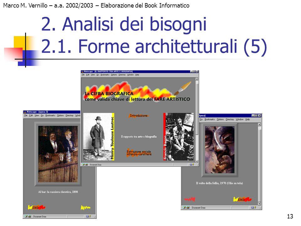 13 Marco M. Vernillo – a.a. 2002/2003 – Elaborazione del Book Informatico 2. Analisi dei bisogni 2.1. Forme architetturali (5)