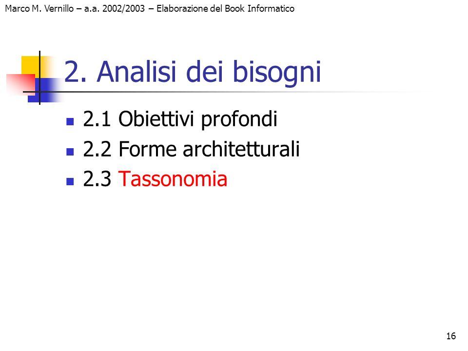 16 Marco M. Vernillo – a.a. 2002/2003 – Elaborazione del Book Informatico 2. Analisi dei bisogni 2.1 Obiettivi profondi 2.2 Forme architetturali 2.3 T