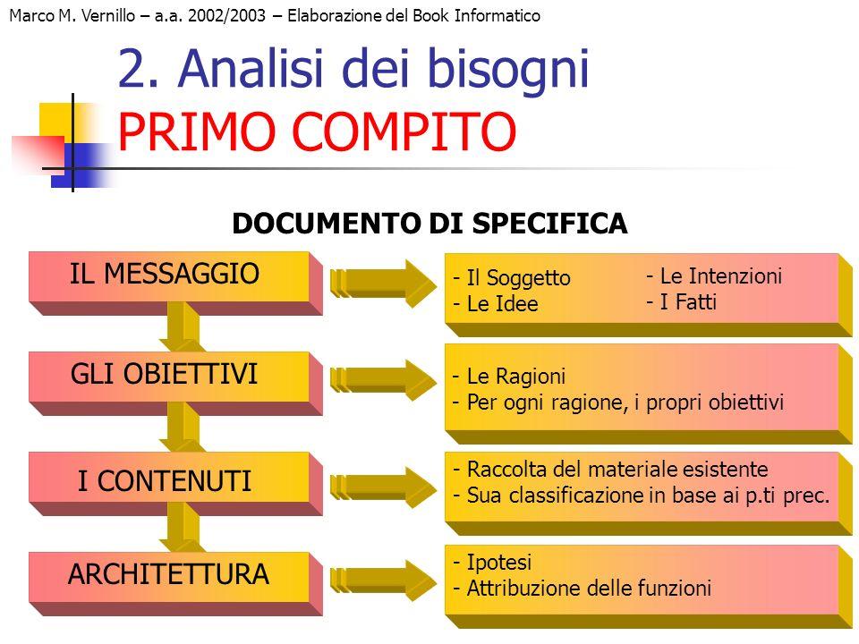 20 Marco M. Vernillo – a.a. 2002/2003 – Elaborazione del Book Informatico 2. Analisi dei bisogni PRIMO COMPITO DOCUMENTO DI SPECIFICA - Il Soggetto -