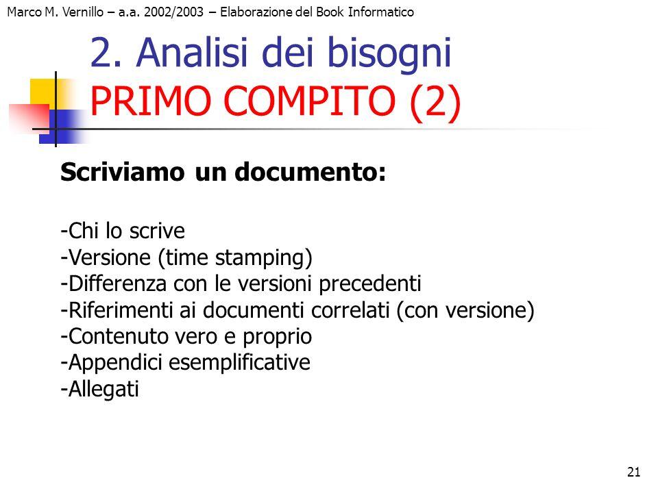 21 Marco M. Vernillo – a.a. 2002/2003 – Elaborazione del Book Informatico 2. Analisi dei bisogni PRIMO COMPITO (2) Scriviamo un documento: -Chi lo scr