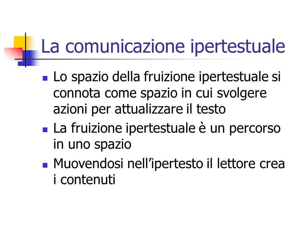 La comunicazione ipertestuale Lo spazio della fruizione ipertestuale si connota come spazio in cui svolgere azioni per attualizzare il testo La fruizione ipertestuale è un percorso in uno spazio Muovendosi nellipertesto il lettore crea i contenuti