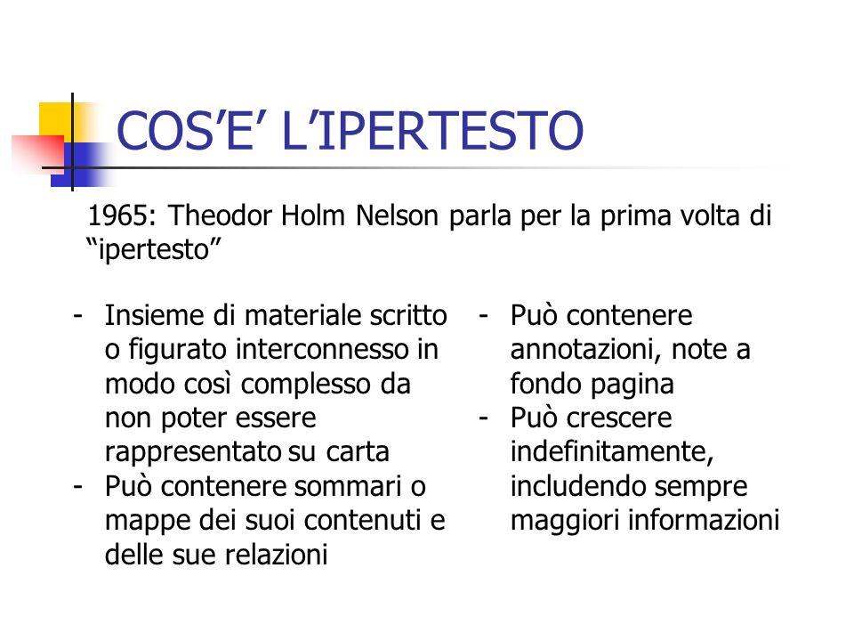 COSE LIPERTESTO -Iper ha il significato di estensione -Prefisso che significa limpossibilità di rappresentare le informazioni contenute attraverso rappresentazione lineare P.