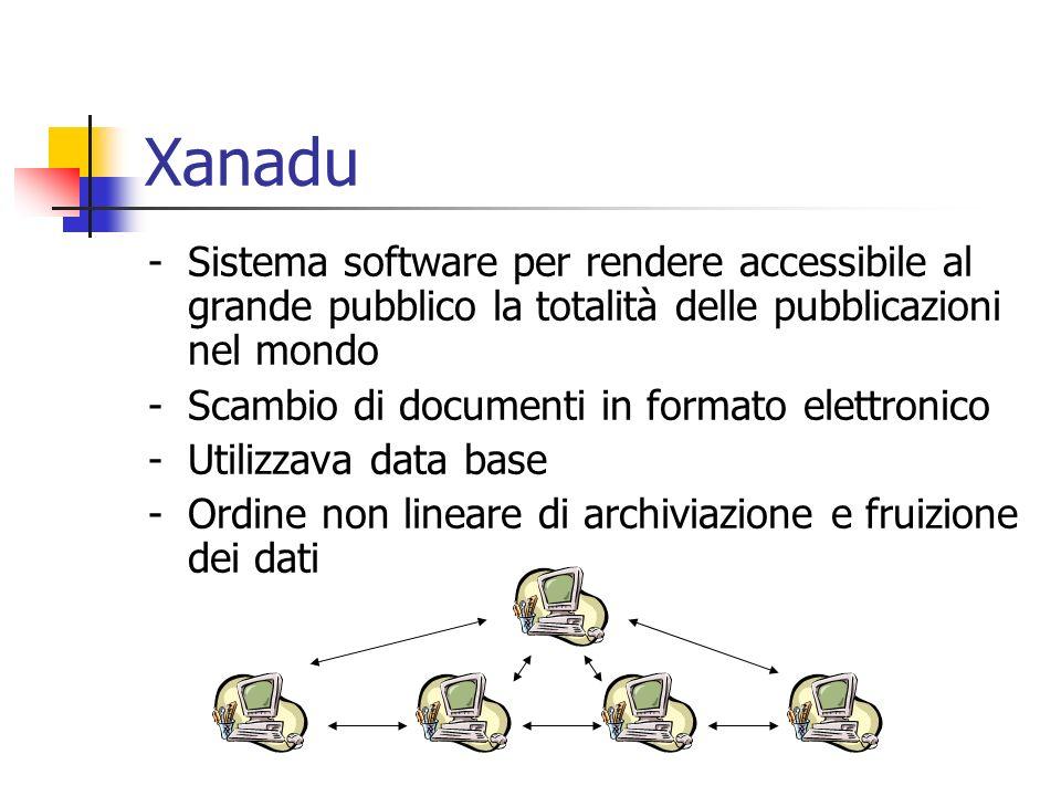 Xanadu -Sistema software per rendere accessibile al grande pubblico la totalità delle pubblicazioni nel mondo -Scambio di documenti in formato elettronico -Utilizzava data base -Ordine non lineare di archiviazione e fruizione dei dati