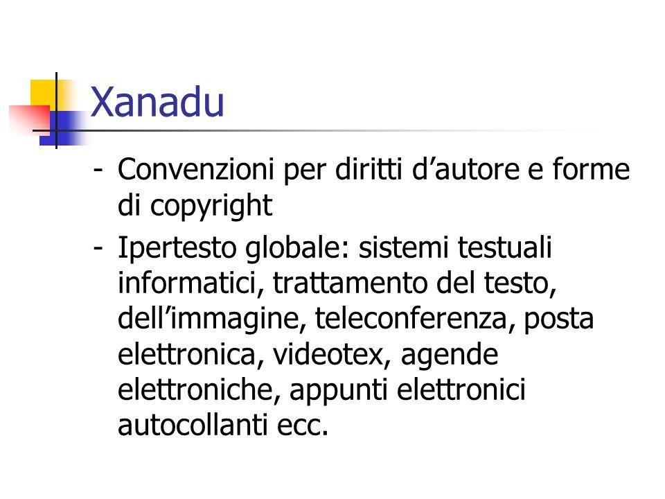Xanadu -Convenzioni per diritti dautore e forme di copyright -Ipertesto globale: sistemi testuali informatici, trattamento del testo, dellimmagine, teleconferenza, posta elettronica, videotex, agende elettroniche, appunti elettronici autocollanti ecc.