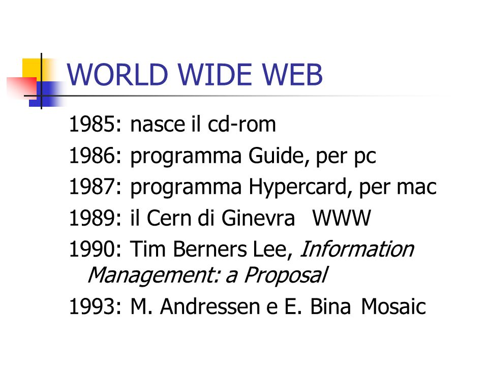 WORLD WIDE WEB 1985: nasce il cd-rom 1986: programma Guide, per pc 1987: programma Hypercard, per mac 1989: il Cern di GinevraWWW 1990: Tim Berners Lee, Information Management: a Proposal 1993: M.