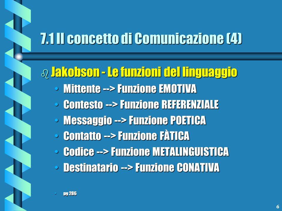 7 b Una prima classificazione dei media Media MONOCODICEMedia MONOCODICE Media PLURICODICEMedia PLURICODICE pg299 Media VERTICALI o unidirezionaliMedia VERTICALI o unidirezionali Media ORIZZONTALI o bidirezionaliMedia ORIZZONTALI o bidirezionali Media RETICOLARI o circolariMedia RETICOLARI o circolari pg300 7.1 Il concetto di Comunicazione (5)