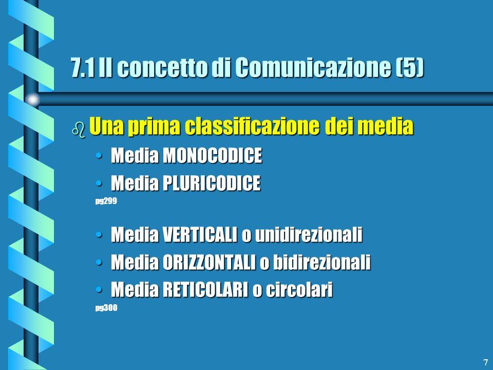 7 b Una prima classificazione dei media Media MONOCODICEMedia MONOCODICE Media PLURICODICEMedia PLURICODICE pg299 Media VERTICALI o unidirezionaliMedi