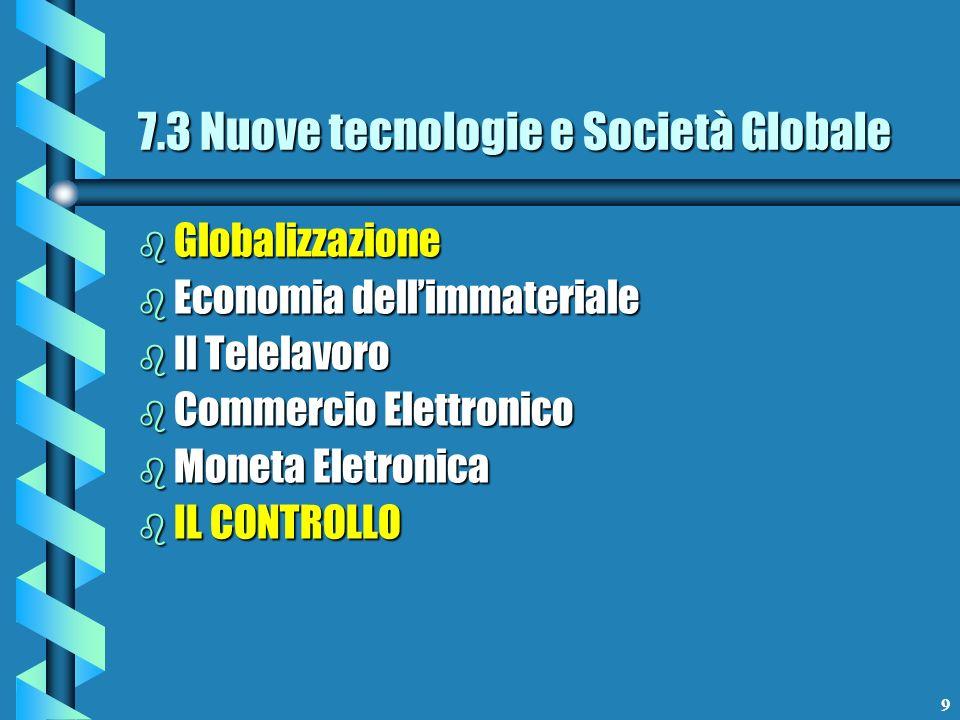9 b Globalizzazione b Economia dellimmateriale b Il Telelavoro b Commercio Elettronico b Moneta Eletronica b IL CONTROLLO 7.3 Nuove tecnologie e Socie