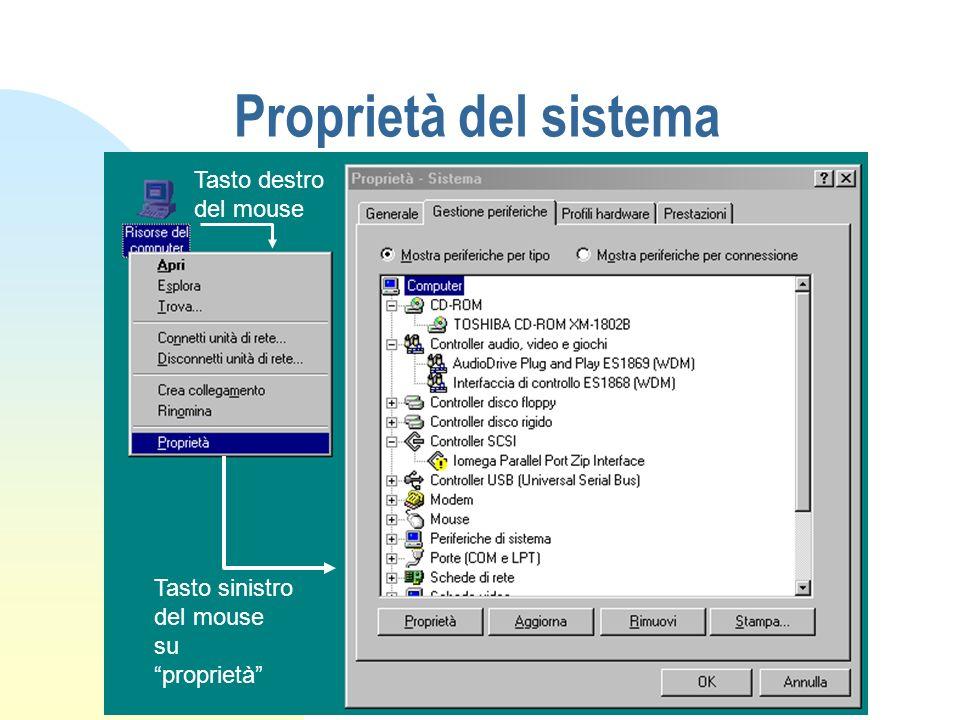 Proprietà del sistema Tasto destro del mouse Tasto sinistro del mouse su proprietà