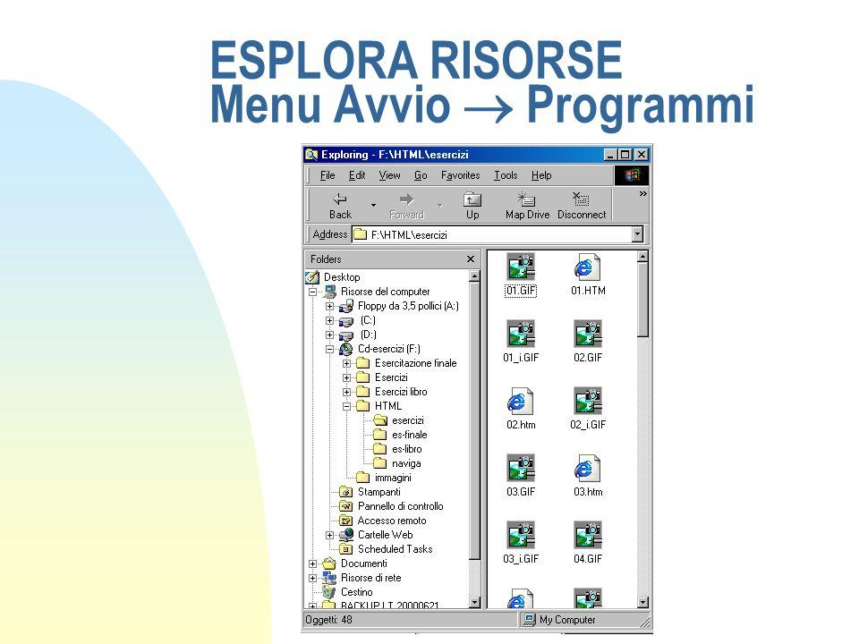 ESPLORA RISORSE Menu Avvio Programmi