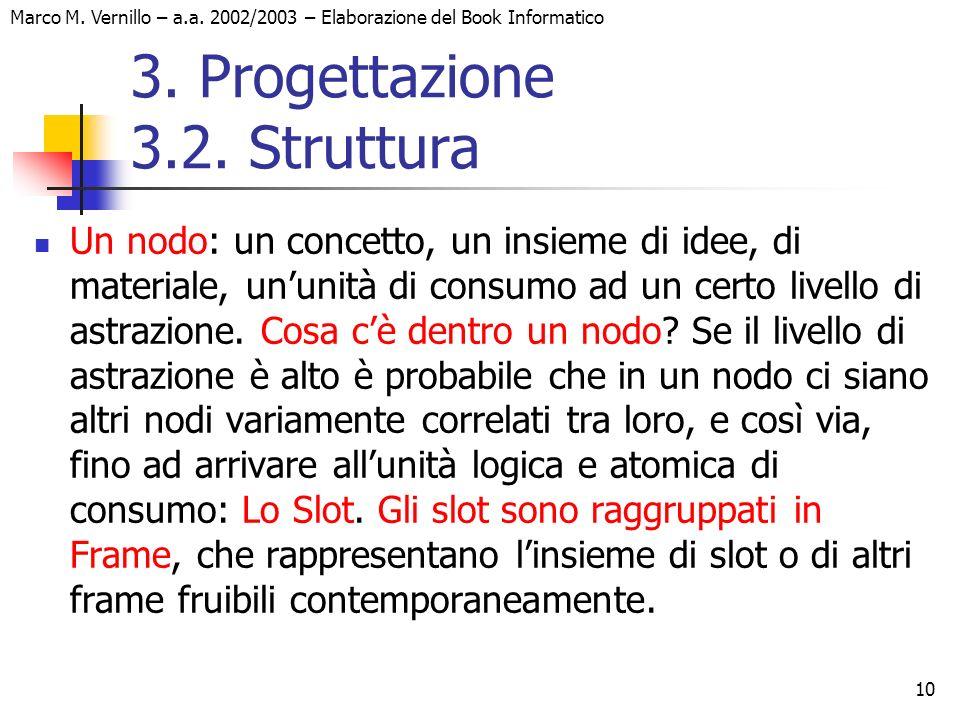 10 Marco M. Vernillo – a.a. 2002/2003 – Elaborazione del Book Informatico 3. Progettazione 3.2. Struttura Un nodo: un concetto, un insieme di idee, di