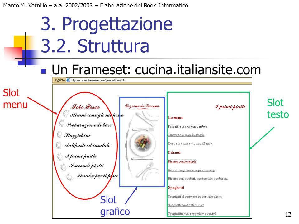 12 Marco M. Vernillo – a.a. 2002/2003 – Elaborazione del Book Informatico 3. Progettazione 3.2. Struttura Un Frameset: cucina.italiansite.com Slot men