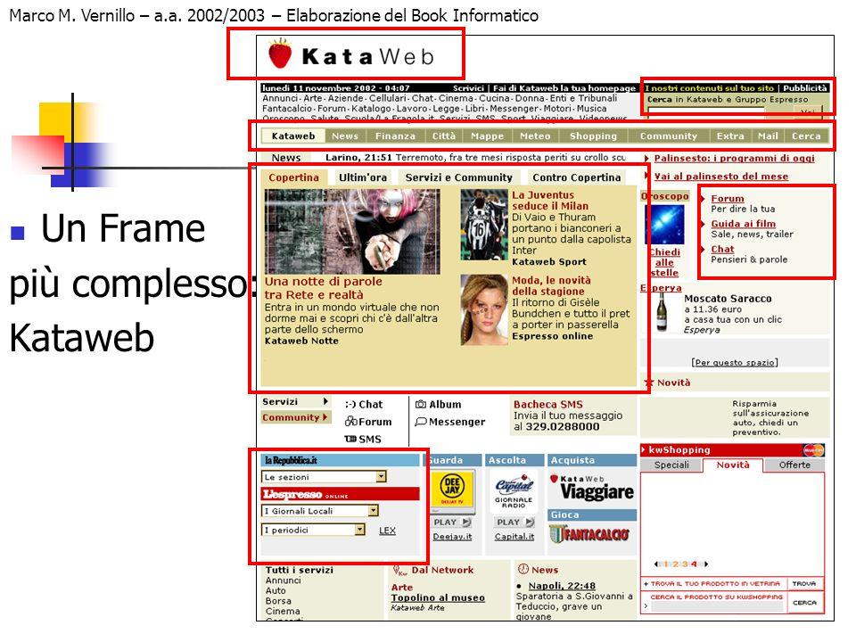 13 Marco M. Vernillo – a.a. 2002/2003 – Elaborazione del Book Informatico Un Frame più complesso: Kataweb