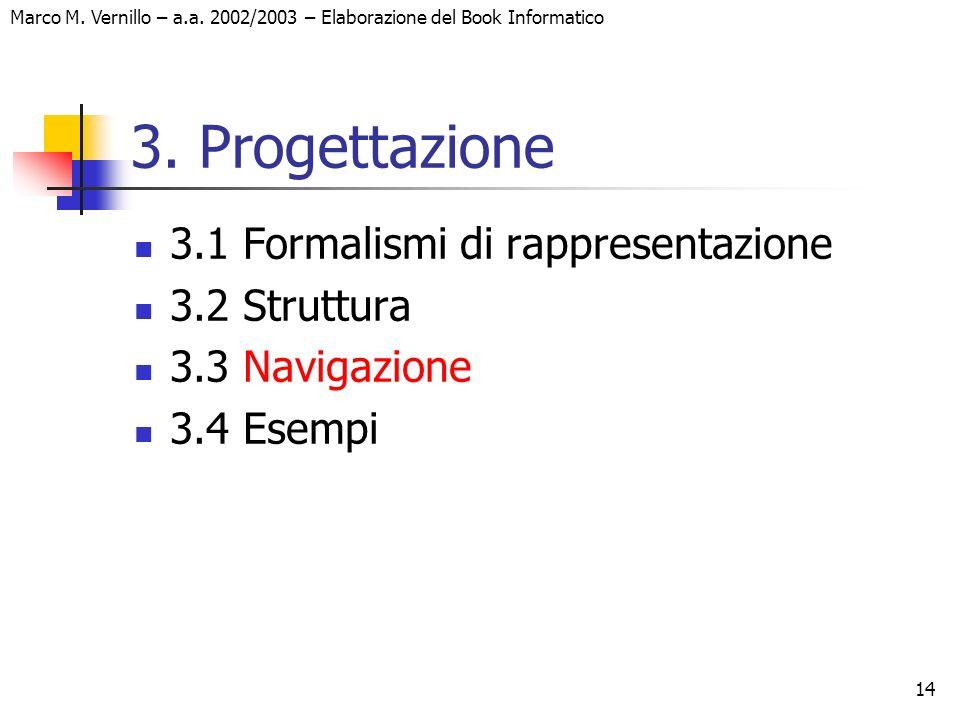 14 Marco M. Vernillo – a.a. 2002/2003 – Elaborazione del Book Informatico 3. Progettazione 3.1 Formalismi di rappresentazione 3.2 Struttura 3.3 Naviga