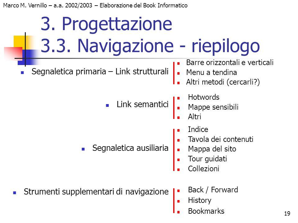 19 Marco M. Vernillo – a.a. 2002/2003 – Elaborazione del Book Informatico 3. Progettazione 3.3. Navigazione - riepilogo Segnaletica primaria – Link st