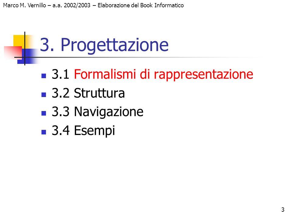 3 Marco M. Vernillo – a.a. 2002/2003 – Elaborazione del Book Informatico 3. Progettazione 3.1 Formalismi di rappresentazione 3.2 Struttura 3.3 Navigaz