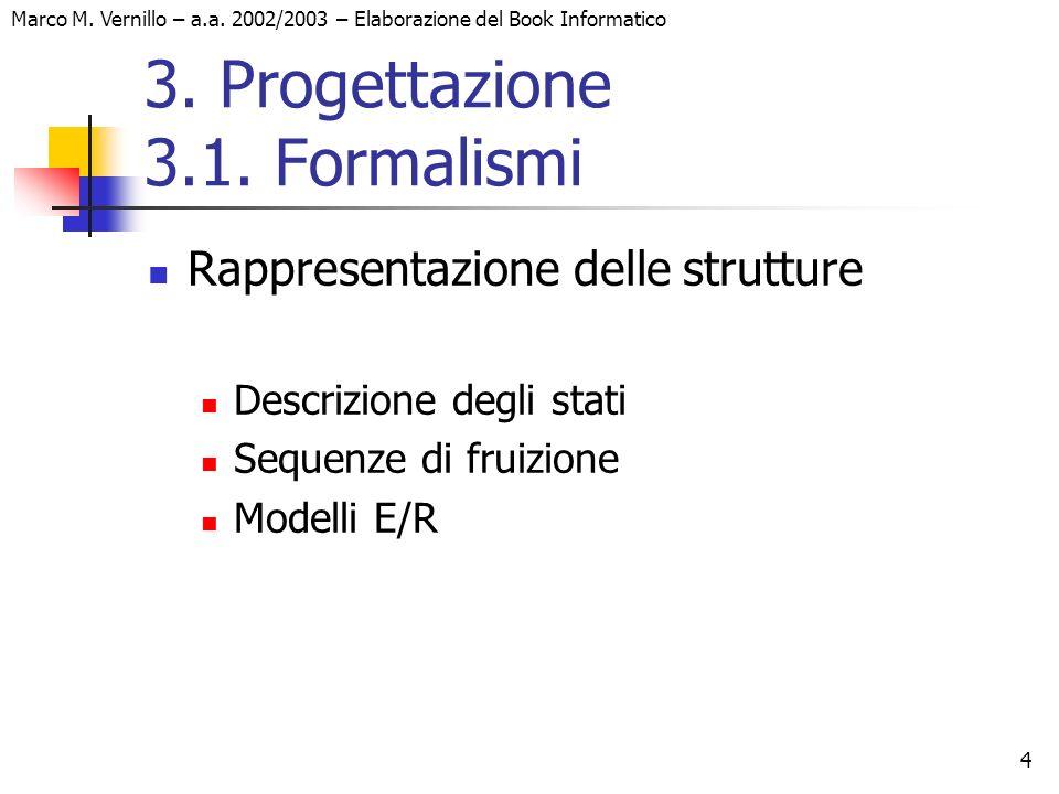 4 Marco M. Vernillo – a.a. 2002/2003 – Elaborazione del Book Informatico 3. Progettazione 3.1. Formalismi Rappresentazione delle strutture Descrizione