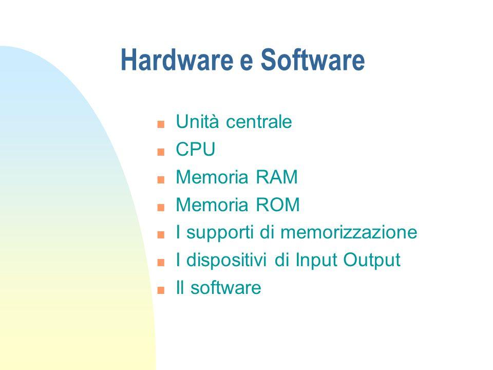 Hardware e Software n Unità centrale n CPU n Memoria RAM n Memoria ROM n I supporti di memorizzazione n I dispositivi di Input Output n Il software
