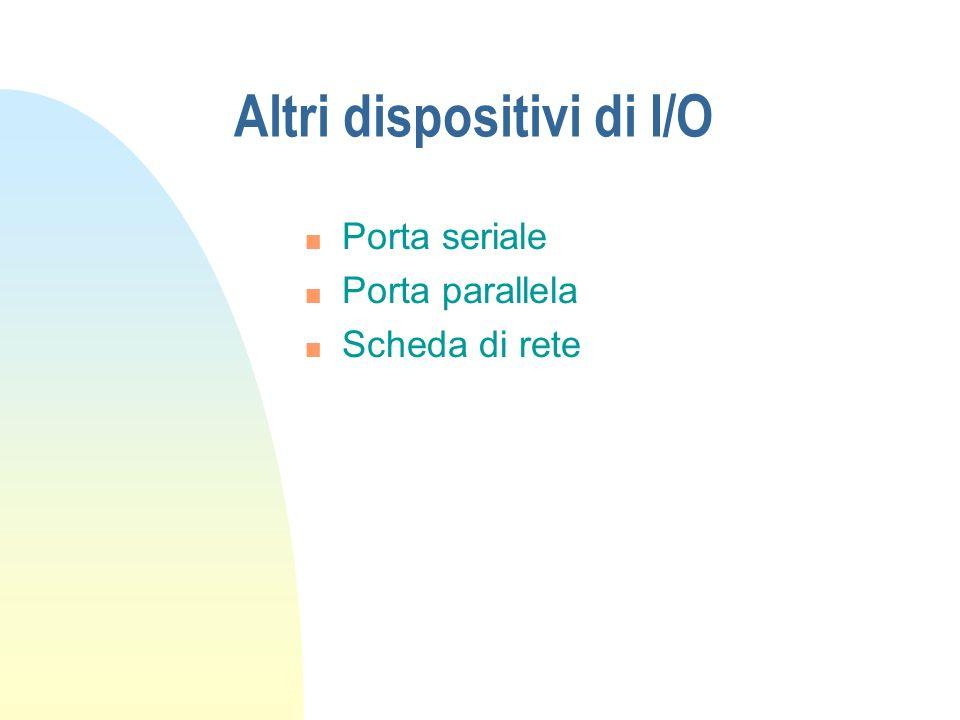 Altri dispositivi di I/O n Porta seriale n Porta parallela n Scheda di rete