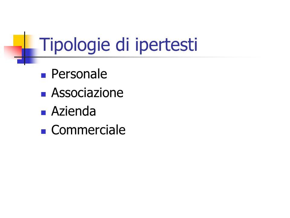 Tipologie di ipertesti Personale Associazione Azienda Commerciale