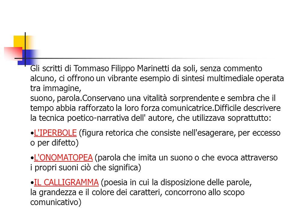 Gli scritti di Tommaso Filippo Marinetti da soli, senza commento alcuno, ci offrono un vibrante esempio di sintesi multimediale operata tra immagine,