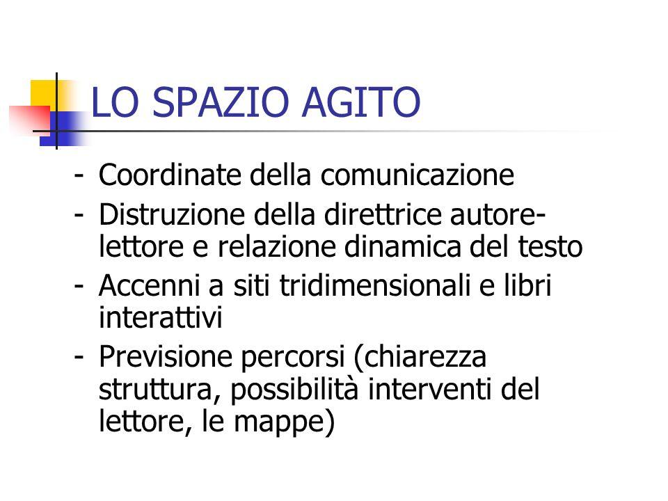 LO SPAZIO AGITO -Coordinate della comunicazione -Distruzione della direttrice autore- lettore e relazione dinamica del testo -Accenni a siti tridimens