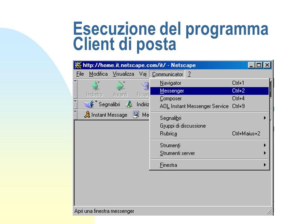 Esecuzione del programma Client di posta