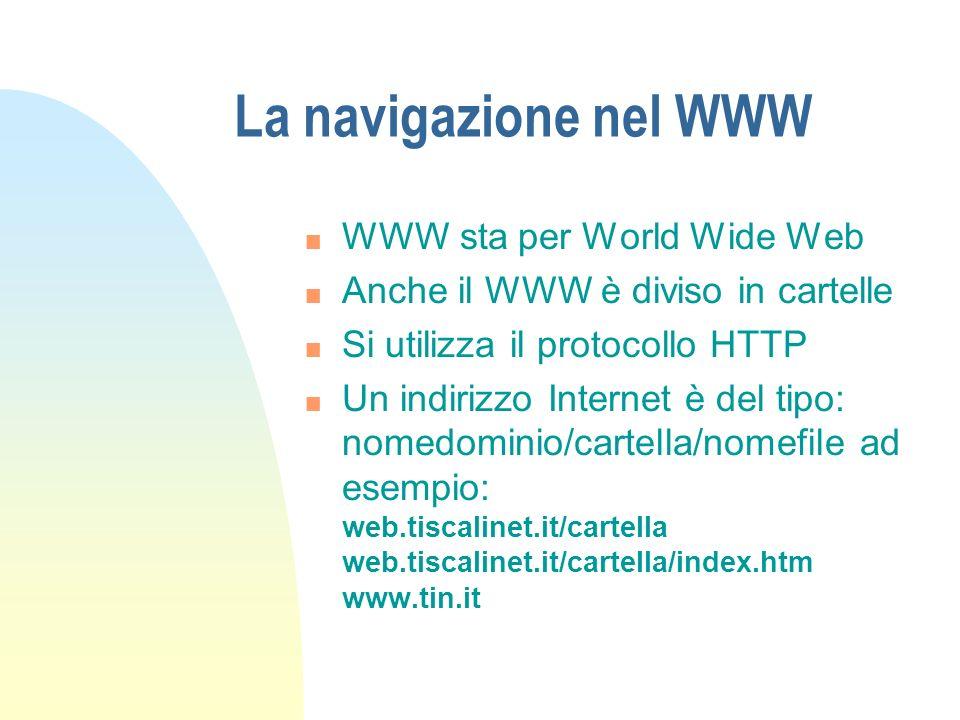 La navigazione nel WWW n WWW sta per World Wide Web n Anche il WWW è diviso in cartelle n Si utilizza il protocollo HTTP n Un indirizzo Internet è del