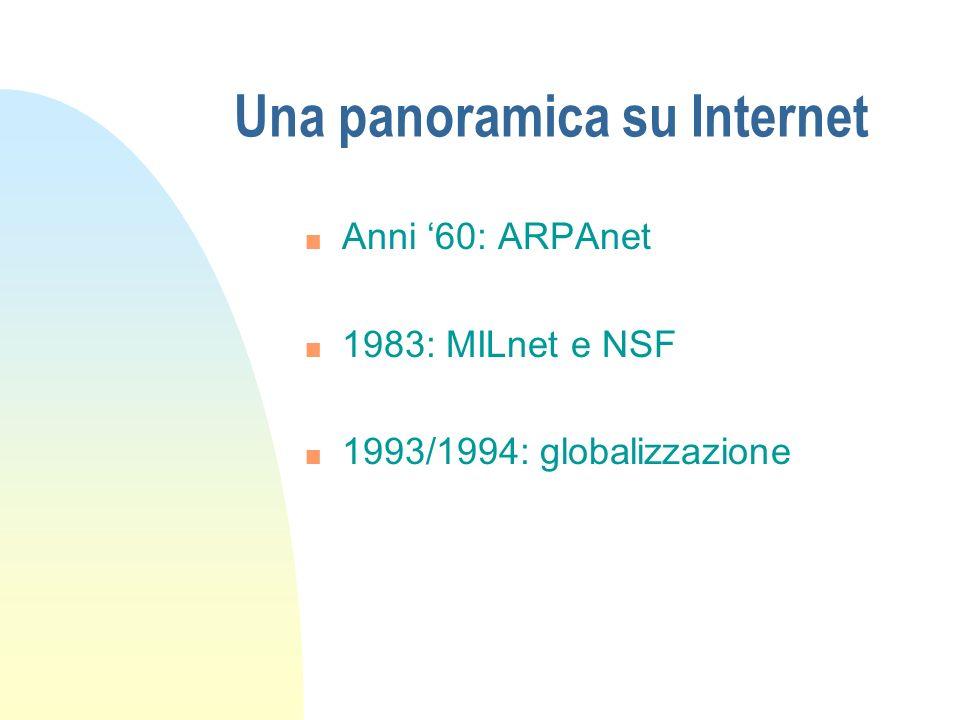 Una panoramica su Internet n Anni 60: ARPAnet n 1983: MILnet e NSF n 1993/1994: globalizzazione