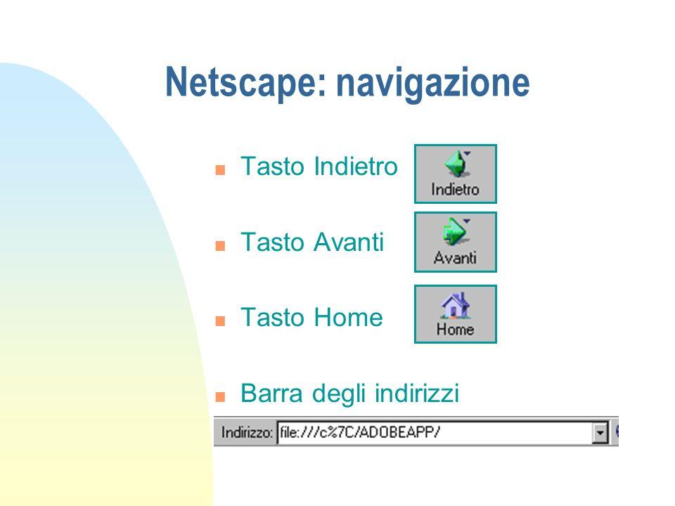 Netscape: navigazione n Tasto Indietro n Tasto Avanti n Tasto Home n Barra degli indirizzi