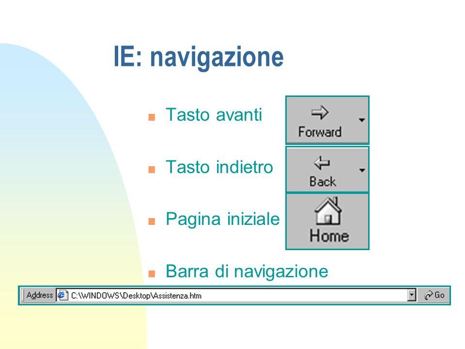 IE: navigazione n Tasto avanti n Tasto indietro n Pagina iniziale n Barra di navigazione