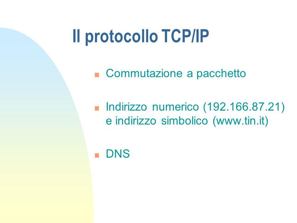 Il protocollo TCP/IP n Commutazione a pacchetto n Indirizzo numerico (192.166.87.21) e indirizzo simbolico (www.tin.it) n DNS