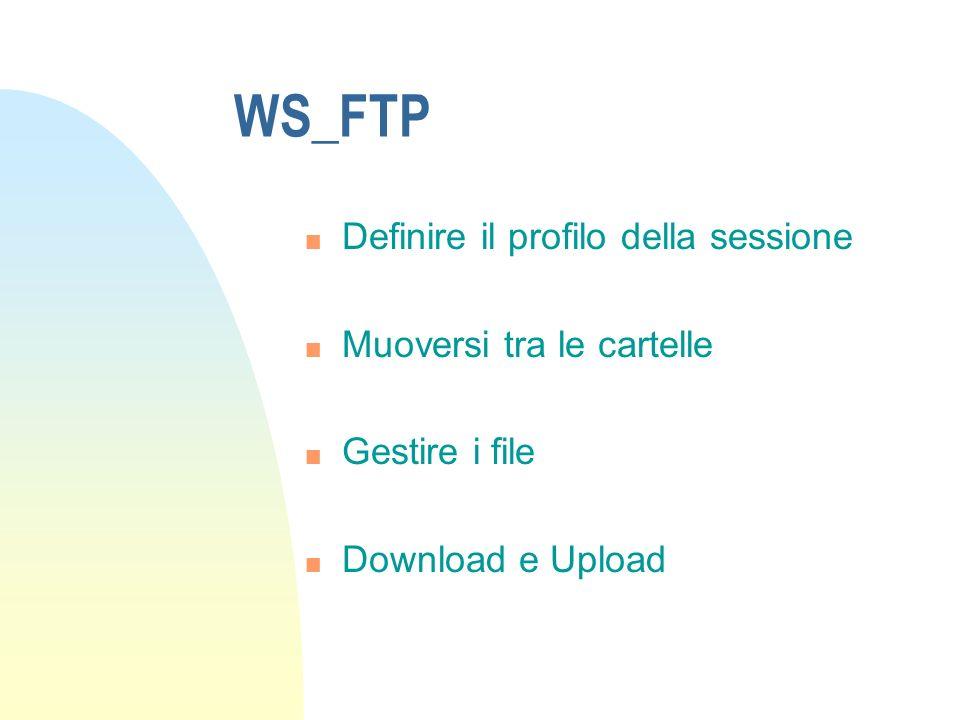 WS_FTP n Definire il profilo della sessione n Muoversi tra le cartelle n Gestire i file n Download e Upload