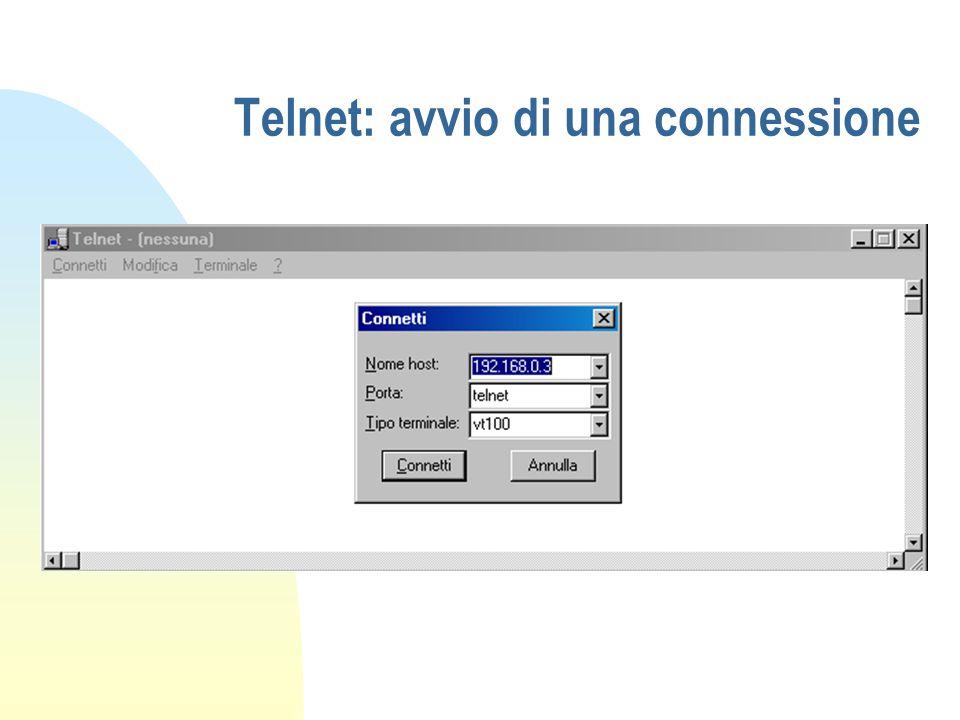 Telnet: avvio di una connessione