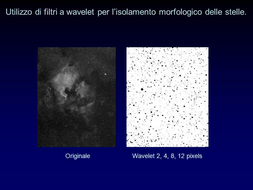 Utilizzo di filtri a wavelet per lisolamento morfologico delle stelle.