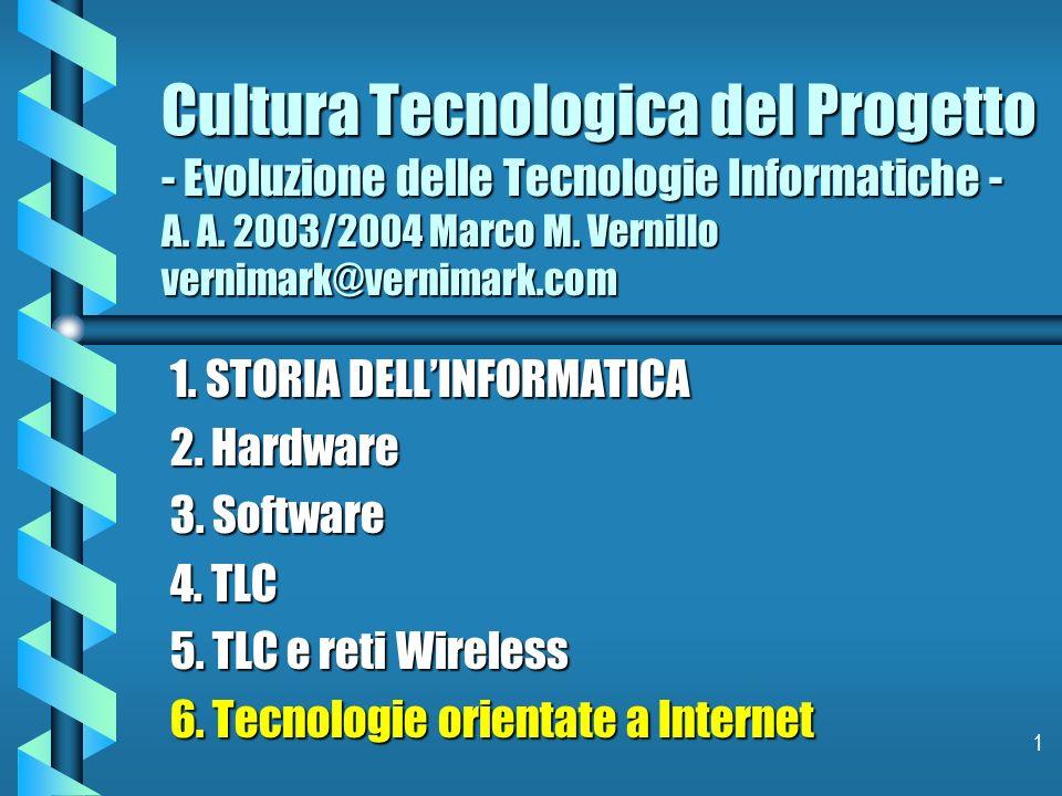 1 Cultura Tecnologica del Progetto - Evoluzione delle Tecnologie Informatiche - A. A. 2003/2004 Marco M. Vernillo vernimark@vernimark.com 1. STORIA DE