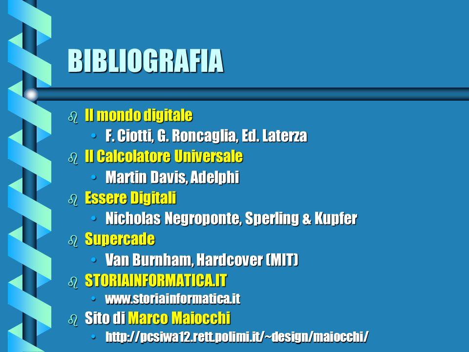 BIBLIOGRAFIA b Il mondo digitale F. Ciotti, G. Roncaglia, Ed. LaterzaF. Ciotti, G. Roncaglia, Ed. Laterza b Il Calcolatore Universale Martin Davis, Ad