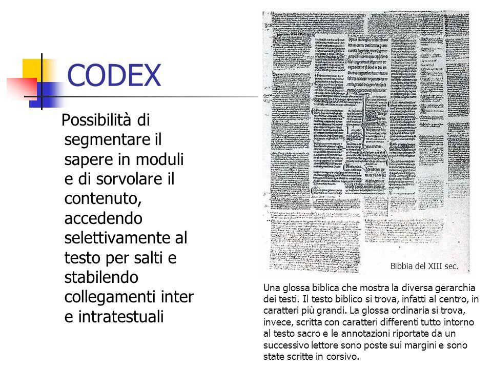 CODEX Possibilità di segmentare il sapere in moduli e di sorvolare il contenuto, accedendo selettivamente al testo per salti e stabilendo collegamenti