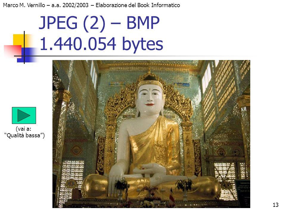 13 Marco M. Vernillo – a.a. 2002/2003 – Elaborazione del Book Informatico JPEG (2) – BMP 1.440.054 bytes (vai a: Qualità bassa)