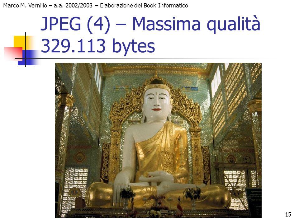 15 Marco M. Vernillo – a.a. 2002/2003 – Elaborazione del Book Informatico JPEG (4) – Massima qualità 329.113 bytes
