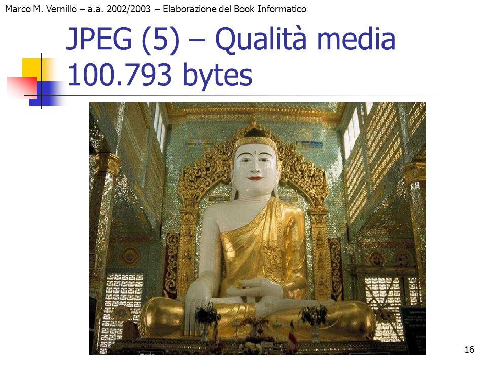 16 Marco M. Vernillo – a.a. 2002/2003 – Elaborazione del Book Informatico JPEG (5) – Qualità media 100.793 bytes